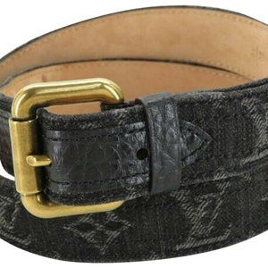 Louis Vuitton Black Charcoal Monogram Denim Ceintu
